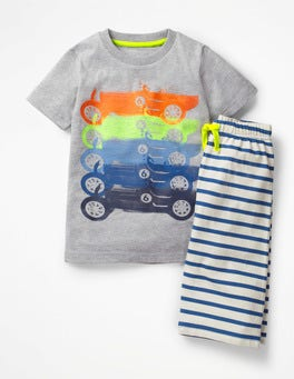 Grey Marl Rainbow Cars Graphic Pyjamas
