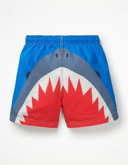 Electric Blue Shark Woven Swim Trunks