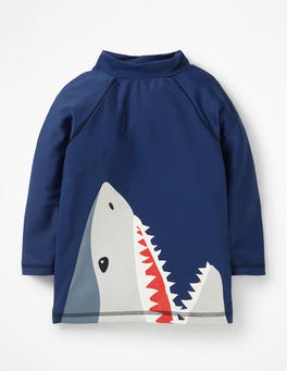 Deep Sea Blue Shark Logo Rash Guard