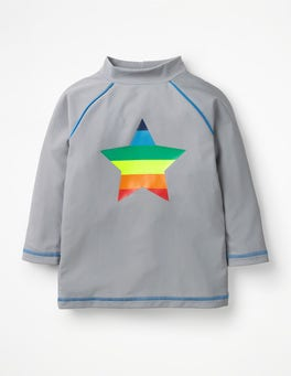 Misty Grey Rainbow Star Logo Rash Vest