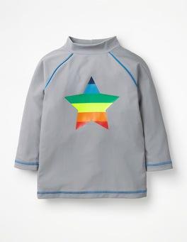 Nebliges Grau, Regenbogen-Stern USF-Langarmshirt mit Logo