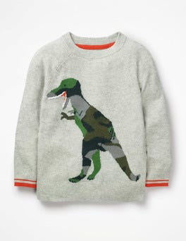Grey Marl Dinosaur Fun Graphic Sweater