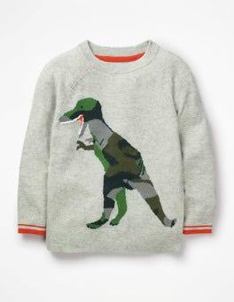 Grey Marl Dinosaur Dinosaur Graphic Jumper