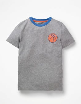 Grey Marl Basketball Printed Sports T-shirt