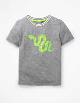 Grey Marl Snake Pop Animal T-shirt