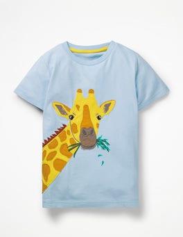 Light Sky Blue Giraffe Big Animal Appliqué T-shirt
