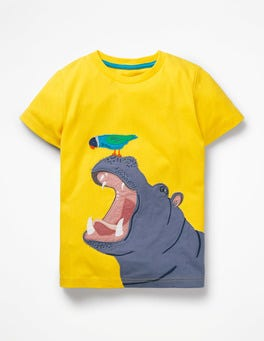 Sunshine Yellow Hippo Big Animal Appliqué T-shirt