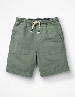 Pottery Green Washed Canvas Pull-on Shorts