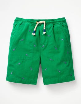 Watercress Guitars Green Washed Canvas Pull-on Shorts