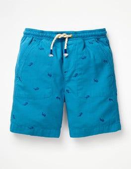 Kaspischblau, Kleine SonnenbrillenVorgewaschene Canvas-Shorts