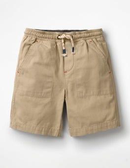 Steingrau Vorgewaschene Canvas-Shorts