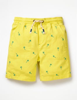 Primrose Yellow Palmtrees Washed Canvas Pull-on Shorts