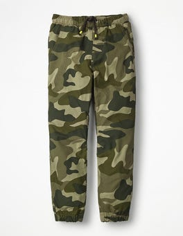 Khaki Camouflage Lined Woven Joggers