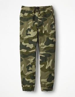 Khakigrün, Camouflage Webjogginghose mit Futter