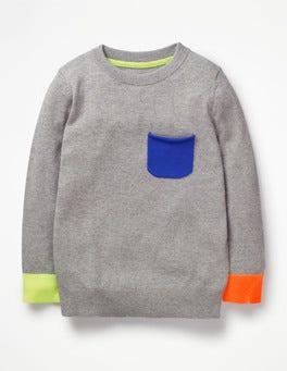 Grey Marl Fine Crew Sweater