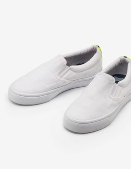White Canvas Slip-ons
