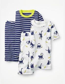School Navy Cheeky Monkeys Twin Pack Short John Pyjamas