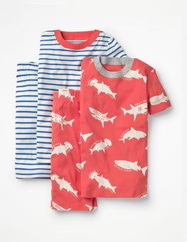 Jam Red Sharktastic Twin Pack Short John Pyjamas