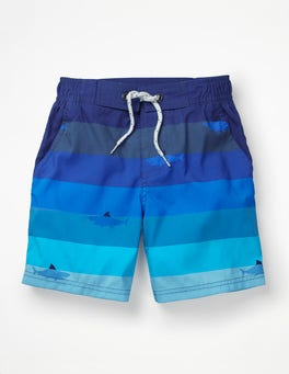 Blue Multi Swimming Shark Board Shorts