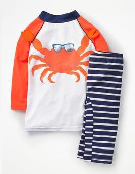 White/Acid Orange Crab Surf Suit