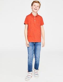 Tropisches OrangeStückgefärbtes Jersey-Poloshirt