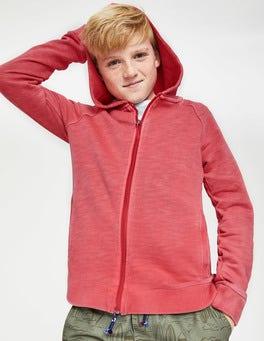 Jam Red Garment-dyed Zip-up Hoodie