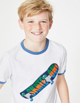 White Skate On Graphic Slogan T-shirt