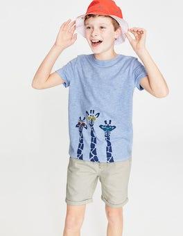 Provence Blue Giraffes Animal Graphic T-shirt