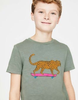 Pottery Green Cool Leopard Animal Graphic T-shirt