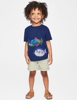 Dunkelblau, Fisch T-Shirt mit Tierapplikation