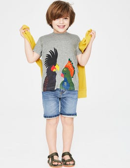 Grey Marl Birds Animal Appliqué T-shirt