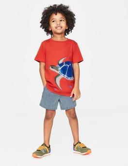 Tropical Coral Orange Turtle Animal Appliqué T-shirt