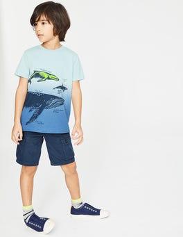 Lagunenblau, Dip-Dye, Wale Dip-Dye-T-Shirt mit Tiermotiv
