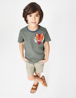 Keramikgrün, Tiger T-Shirt mit tierischer Tasche