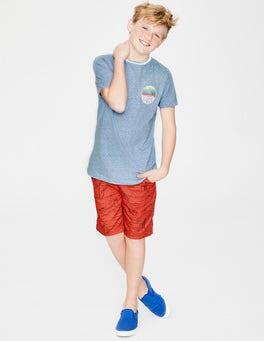 Hellblau Meliert Surfer-T-Shirt