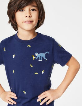 Starboard Blue Monkey Embroidered Creature T-shirt