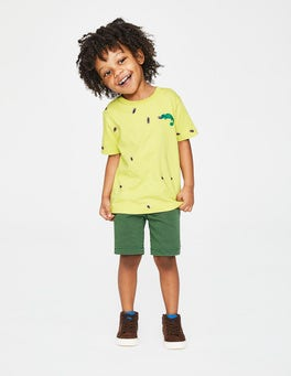 Sherbert Lime Yellow Chameleon Embroidered Creature T-shirt