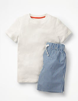 Skipper Blue Stripe Short Pyjama Set