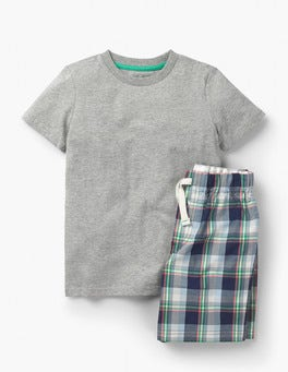 School Navy Check Short Pyjama Set