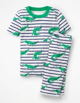 Astro Green Croccodiles Glow-in-the-dark Short Pajamas