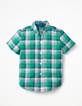 Astro Green/Lagoon Blue Check Fun Short-sleeved Shirt