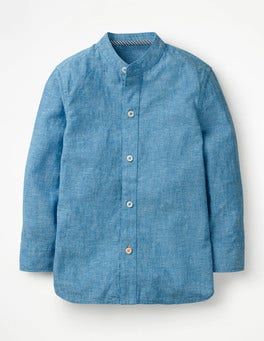 Blue Slub Grandad Collar Shirt