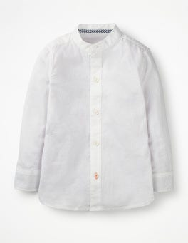 White Slub Grandad Collar Shirt