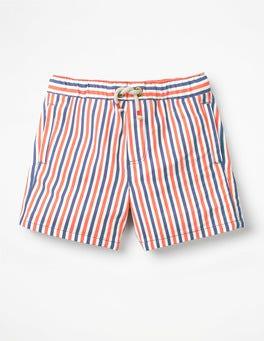 Orange/Blue/Ecru Seersucker Drawstring Shorts