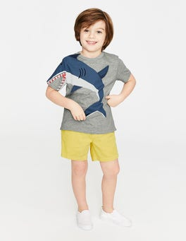 Grey Marl Shark Novelty T-shirt