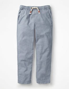 Light Blue Chambray Summer Pull-on Trousers