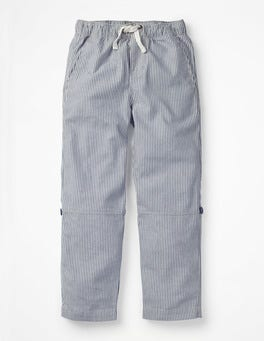 College Blue/Ecru Ticking Surf Roll-up Trousers