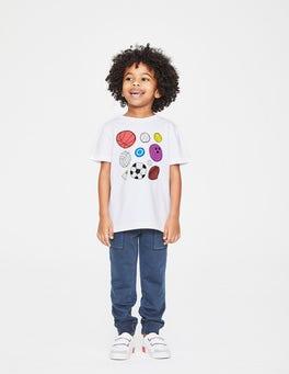 White Multi Balls Sports T-shirt