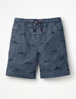 Lagoon Blue Sharks Washed Canvas Pull-on Shorts