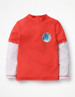 Indie Red Wave Layered Rash Vest